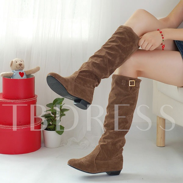 Square Heel Short Floss Slip-On Knee-High Round Toe Women's Boots