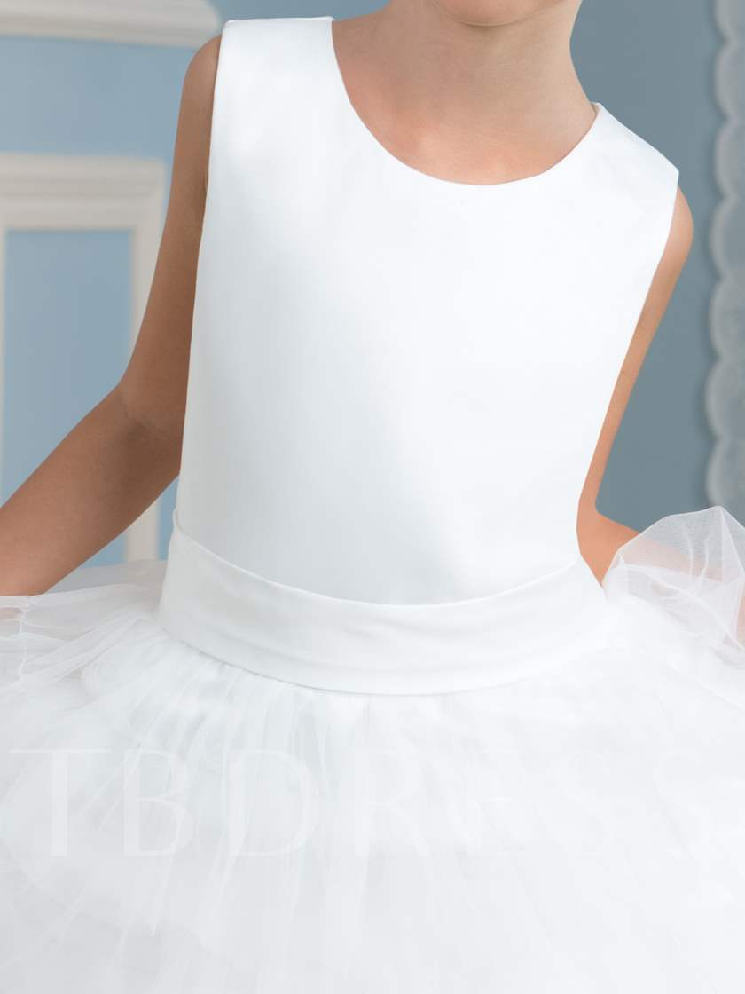 Tiered Tulle Tea-Length Girl's Party Dress
