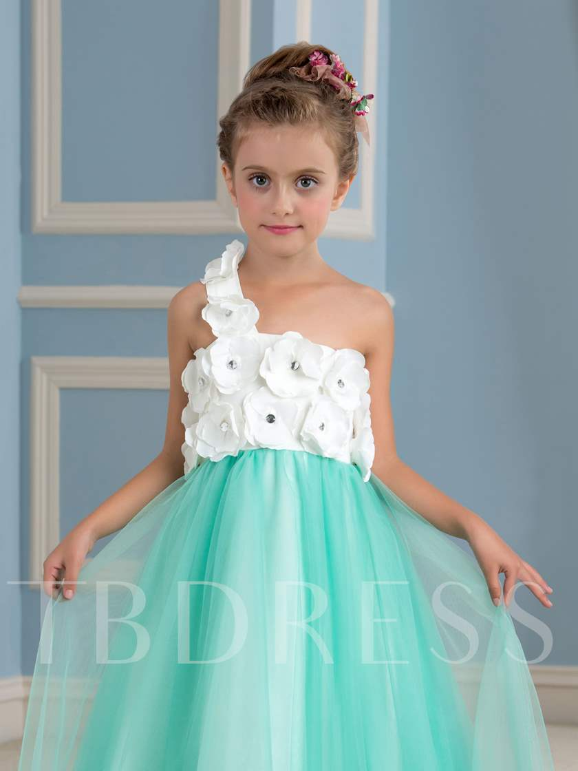 One-Shoulder Flowers Girls Party Dress