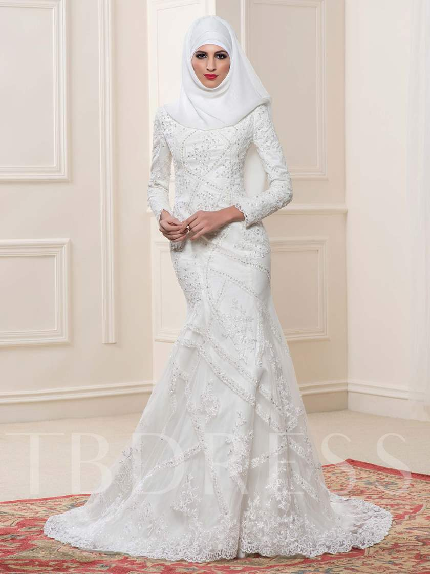 Lace Sequins Mermaid Arabic Wedding Dress With Hijab Sold Out