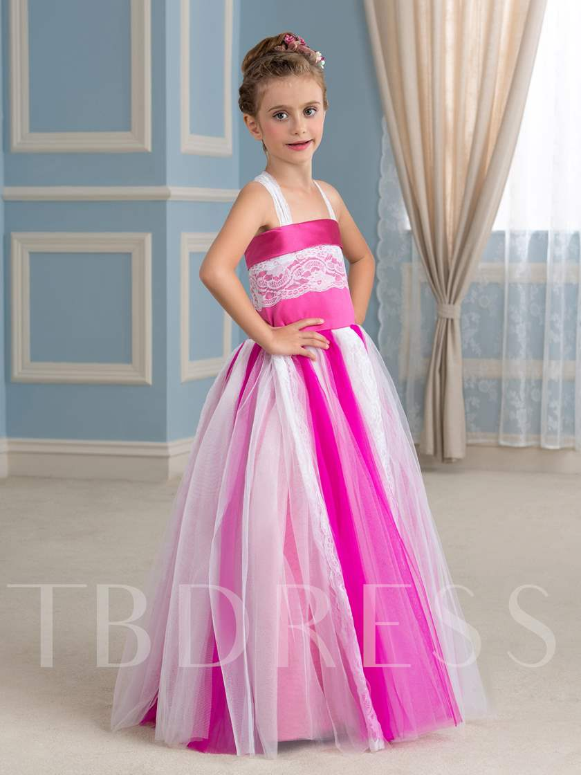 Lace Straps Ball Gown Flower Girl Dress