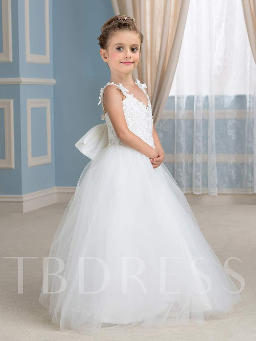 Appliques Straps Ball Gown Flower Girl Dress