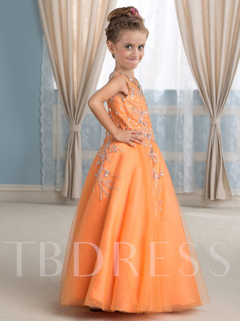 Rhinestones Ball Gown Girl`s Party Dress