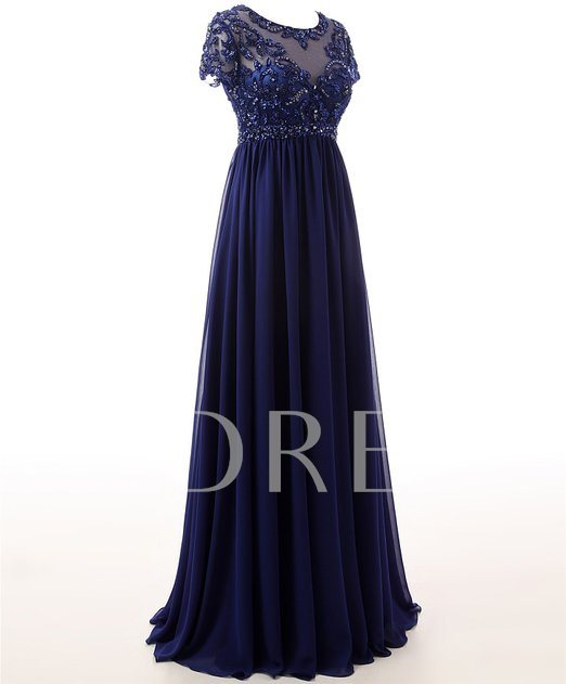 A-Line Short Sleeve Appliques Ruffles Long Evening Dress