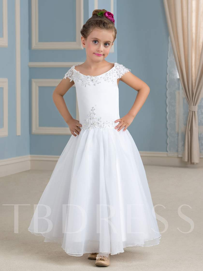 Cap Sleeve Appliques Beading Flower Girl Dress