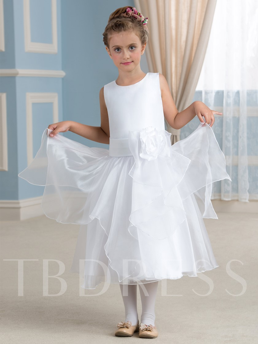 Ribbon Flower Tea-Length A-Line Flower Girl Dress
