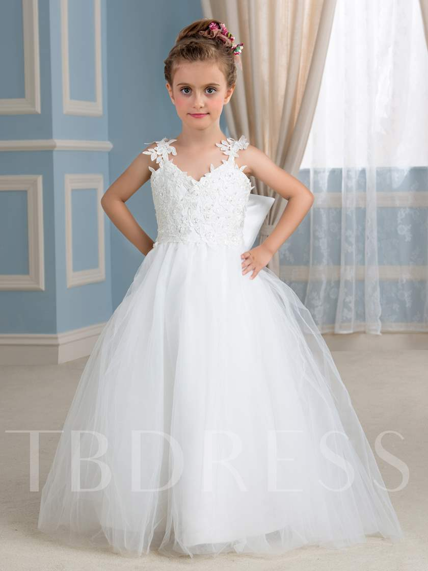 880769cc0fd Appliques Straps Ball Gown Flower Girl Dress - Tbdress.com