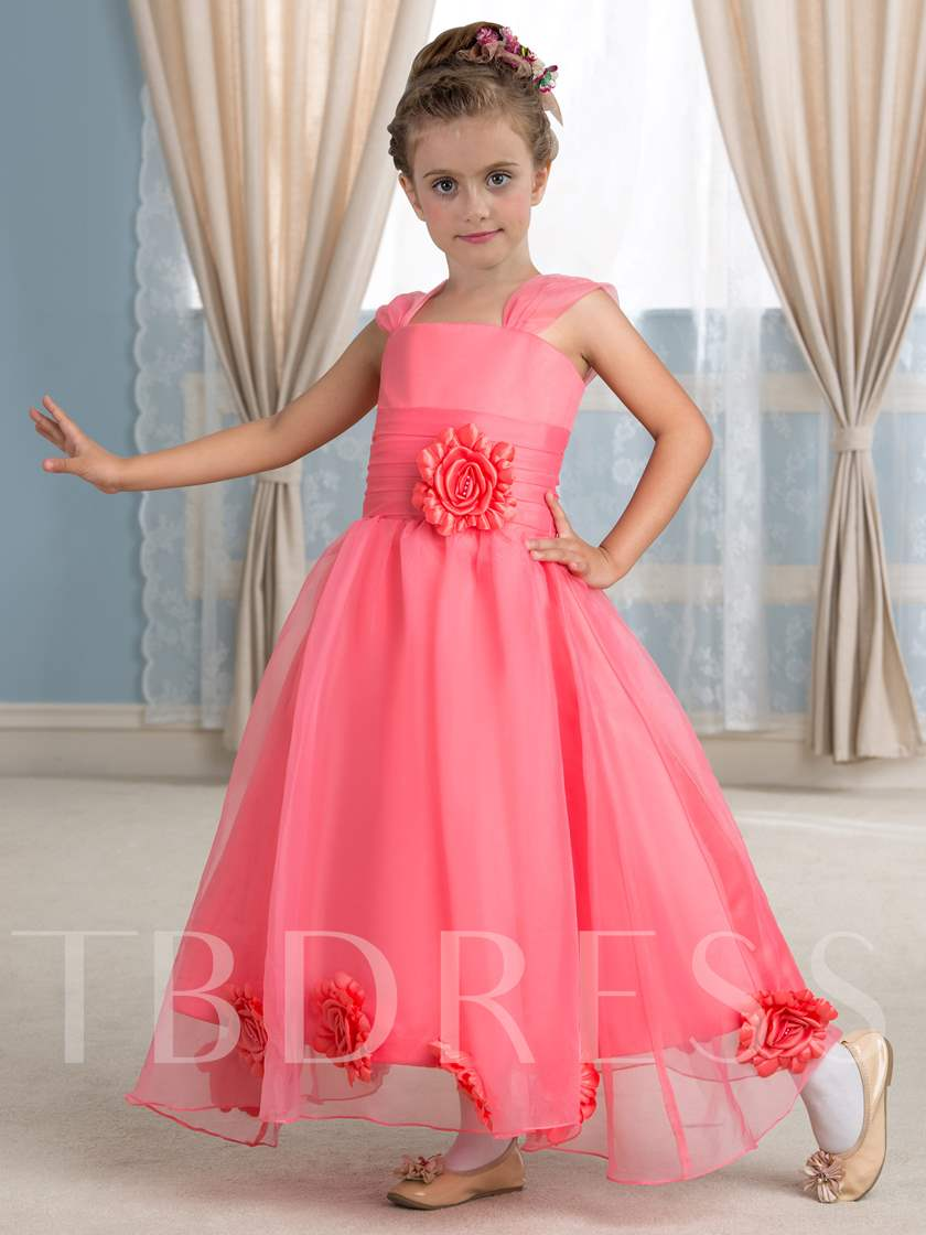 Ankle-Length Ball Gown Organza Girl`s Party Dress