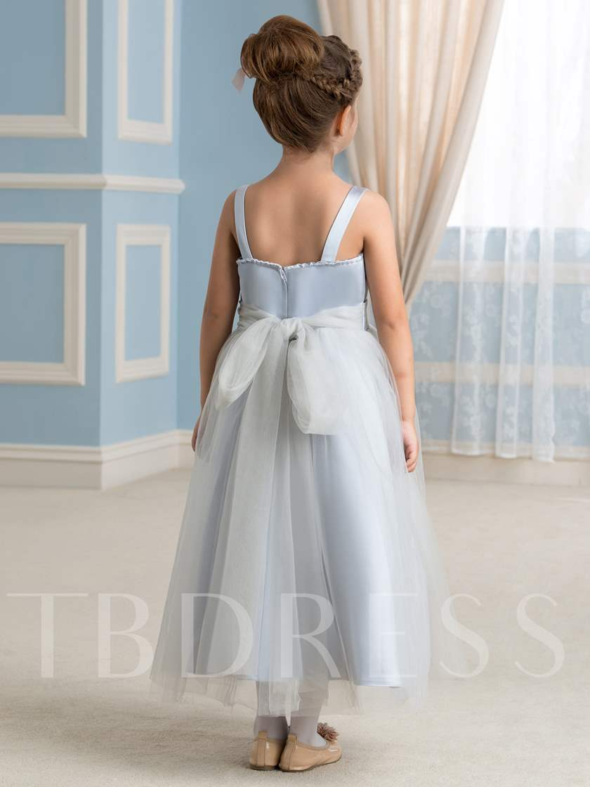 Spaghetti Straps Tulle Ankle-Length Flower Girl Dress