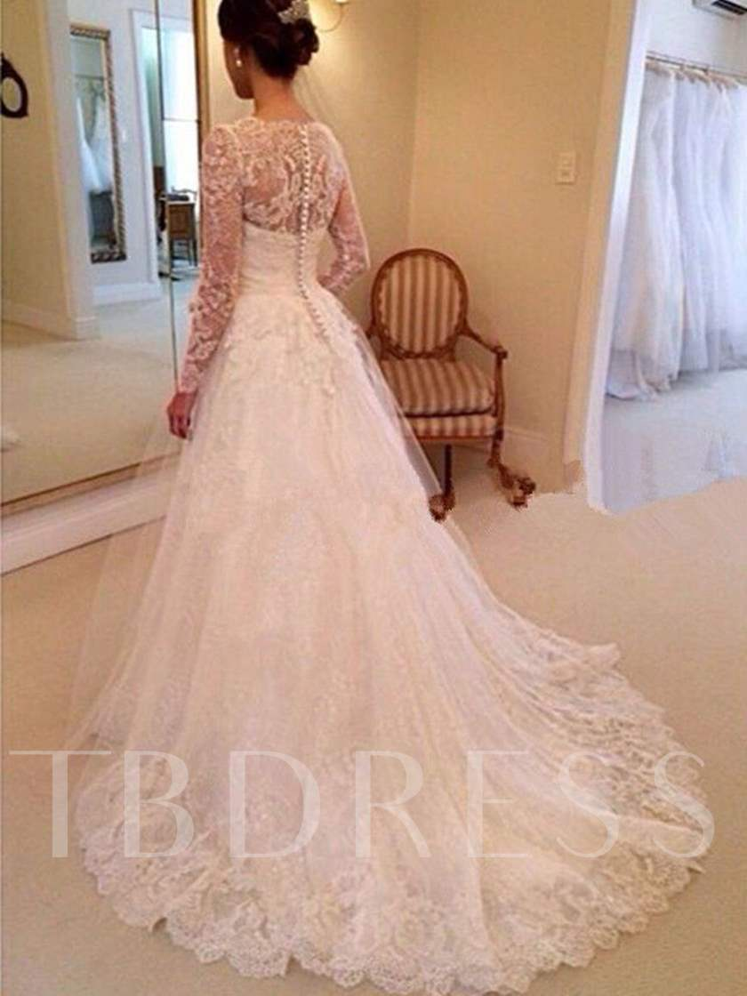 Button Back Lace Wedding Dress with Long Sleeves