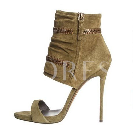 Open Toe Side Zipper Stiletto Heel Ankle Women's Boots