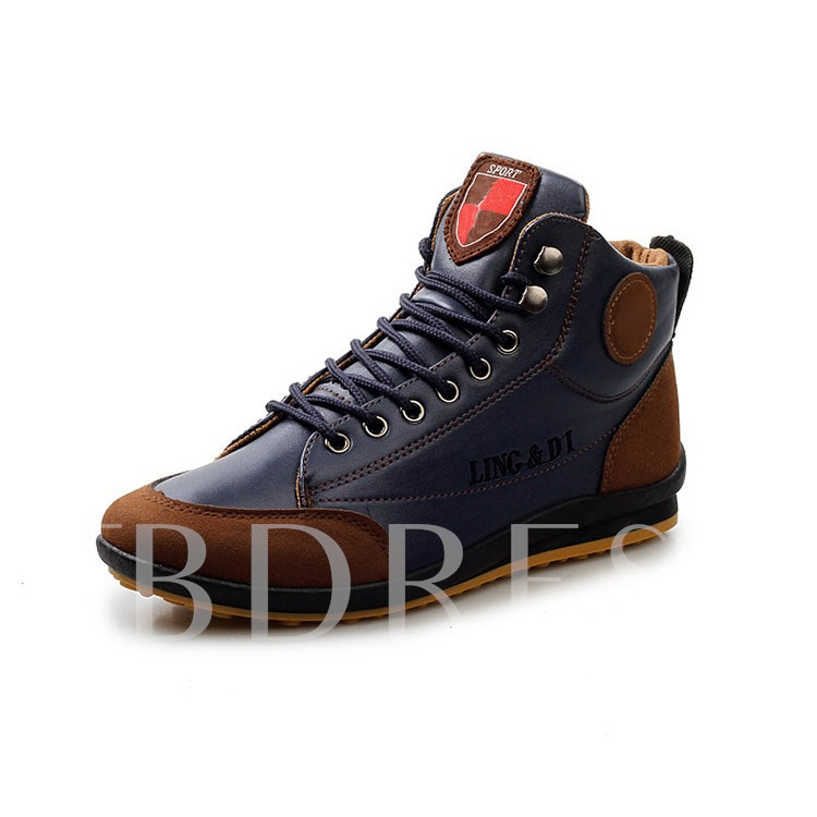 Patchwork Flat Heel Round Toe Lace-Up Front Men's Sneakers (Plus Size )