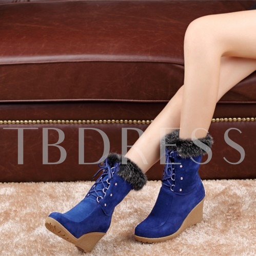 Round Toe Wedge Heel Lace-Up Front Women's Ankle Boots