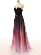 Strapless Sashes Ruched Gradient Color Prom Dress
