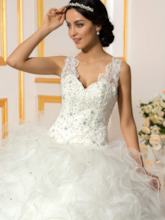 Cascading Ruffles Appliques Ball Gown Wedding Dress