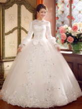 Long Sleeve Beading Lace-Up Vintage Wedding Dress