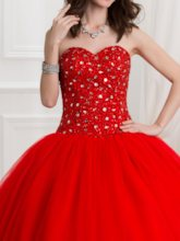 Sweetheart Ball Gown Beaded Sequins Long Quinceanera Dress