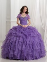 Cascarding Ruffles Ball Gown Quinceanera Dress With Jacket