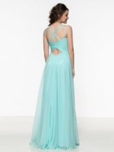 V-Neck Criss-Cross Pleats Long Prom Dress