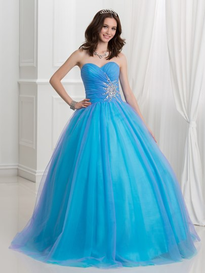 Pleats Rhinestone Beaded Long Quinceanera Dress