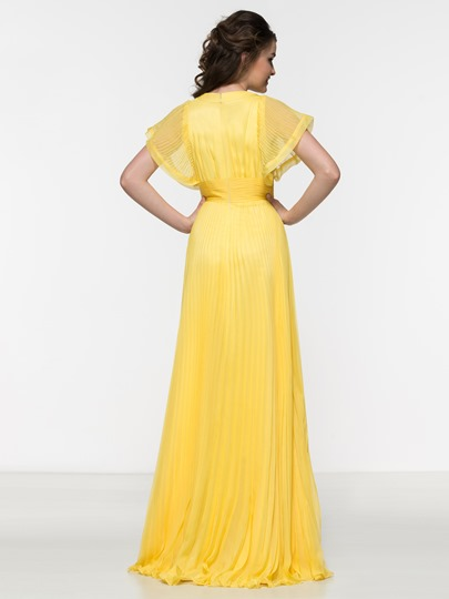 A-Line V-Neck Bat-wing Sleeve Pleats Prom Dress