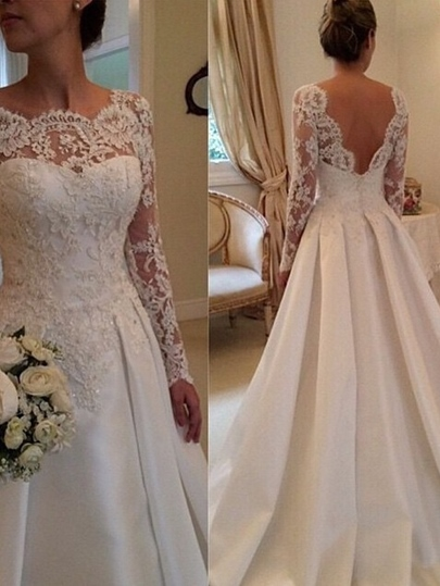 Appliques Muslim Wedding Dress with Long Sleeve Appliques Muslim Wedding Dress with Long Sleeve