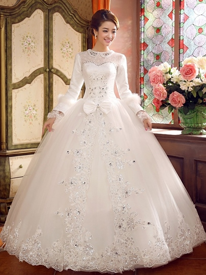 Long Sleeve Rhinestone Lace-Up Ball Gown Arabic Wedding Dress