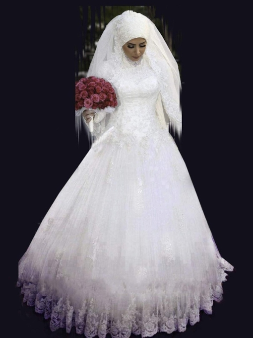 Long Sleeves Ball Gown High Neck Appliques Muslim Wedding Dress