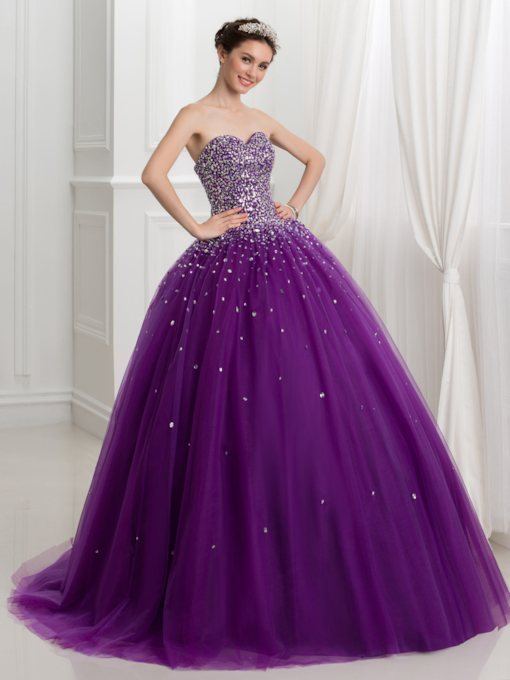 Sweetheart Ball Gown Beading Sequins Quinceanera Dress