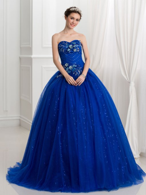 Sequins Sweetheart Appliques Beaded Quinceanera Dress
