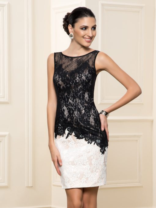 Sheath Lace V-Back Short Cocktail Dress
