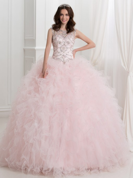 ba5bd33796c Sheer Neck Open Back Beaded Ball Gown Quinceanera Dress