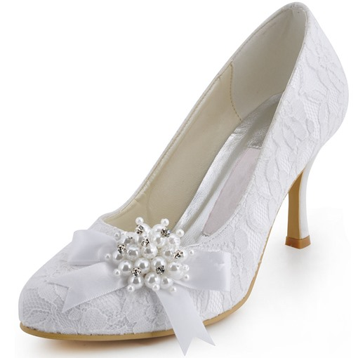 Patchwork Round Toe Stiletto Heel Slip-On Women's Wedding Shoes