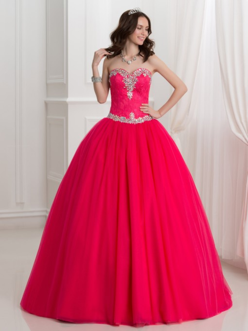 Sweetheart Beaded Lace Ball Gown Quinceanera Dress