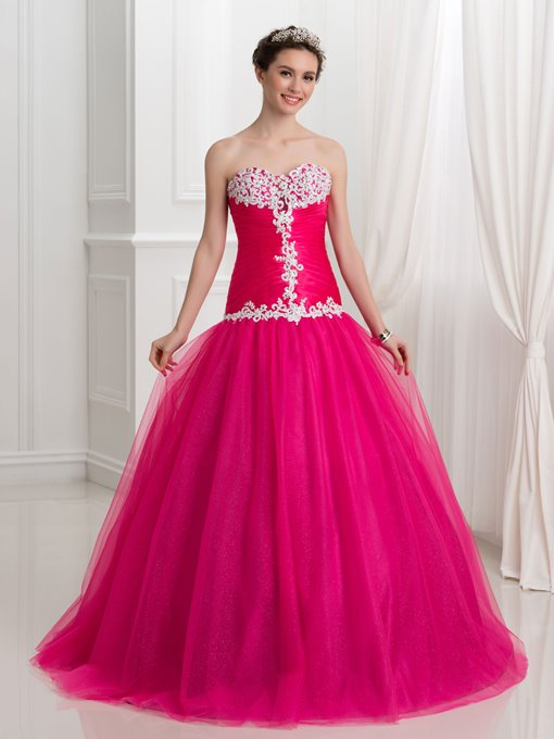 Sweetheart Lace-Up Appliques Evening Dress