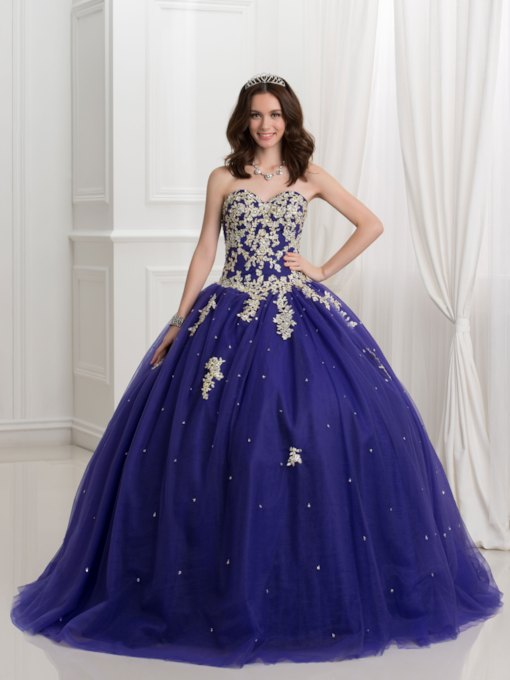 Schatz-Ballkleid Pailletten Perlen Spitzen -up quinceanera Kleid