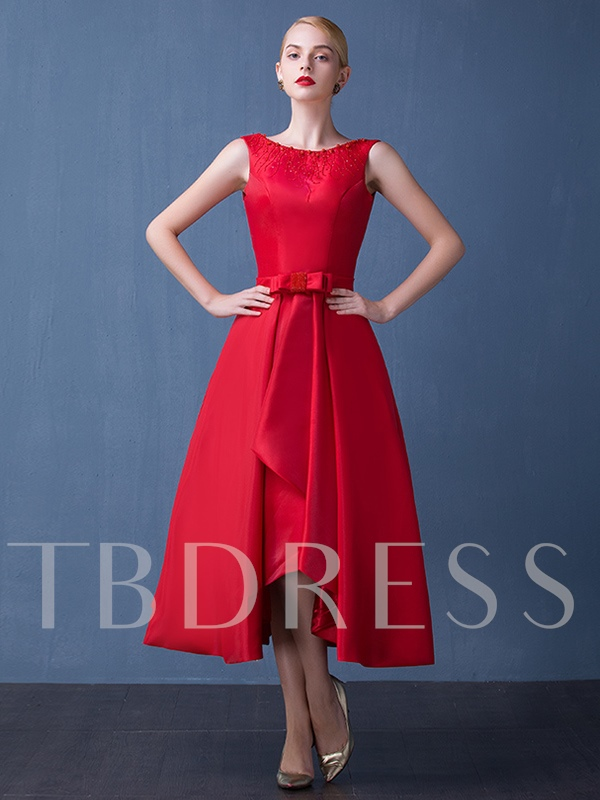 Image of A-Line Bowknot Asymmetrical Length Prom Dress