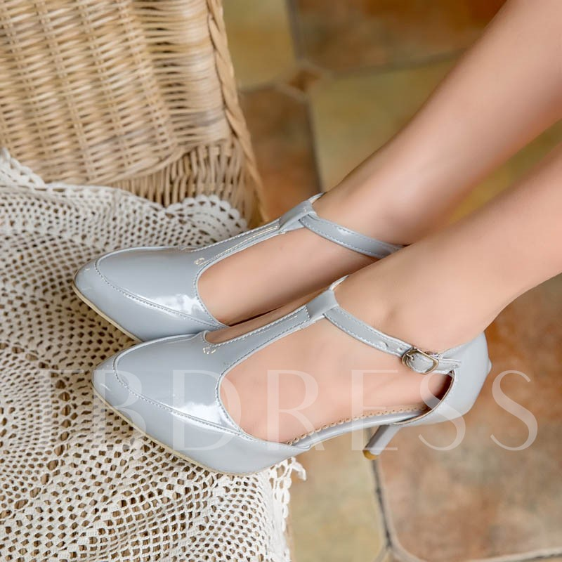 Round Toe Plain T-Shaped Buckle Stiletto Heel Women's Sandals