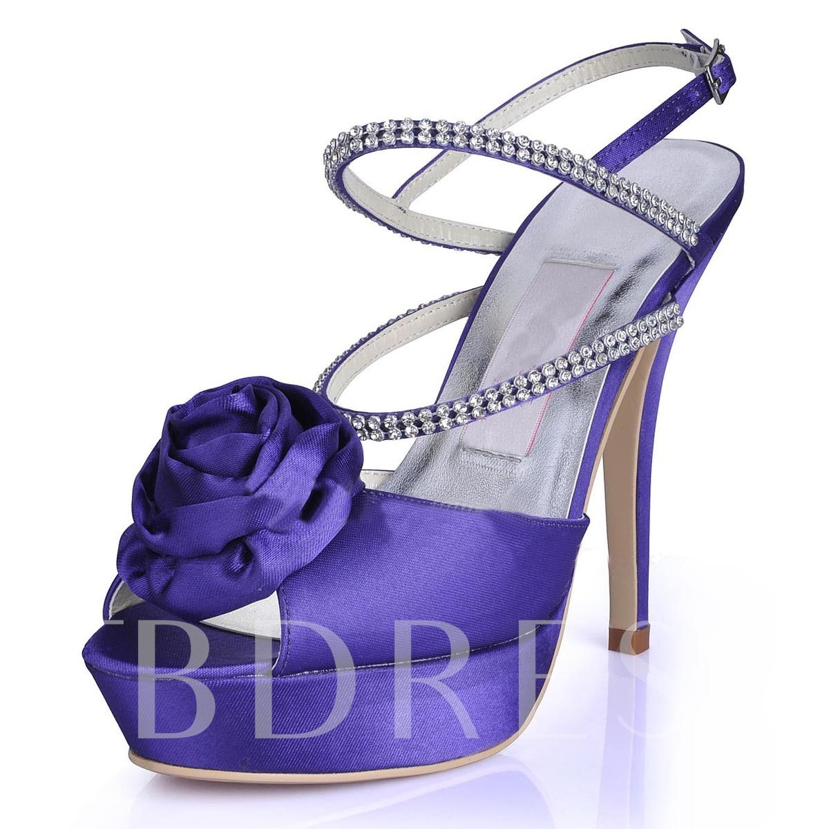 Peep Toe Plain Appliques Rhinestone Wedding Shoes