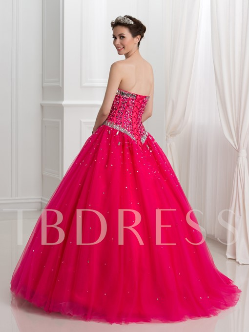 Sweetheart Beaded Sequins Ball Gown Floor-Length Quinceanera Dress