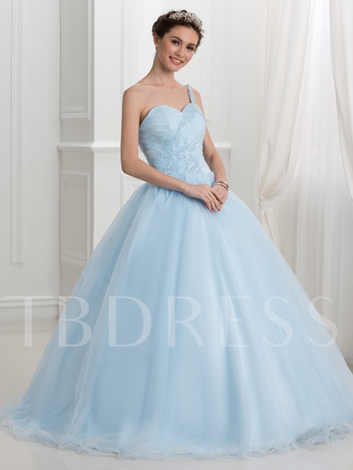 One-Shoulder Appliques Ball Gown Quinceanera Dress
