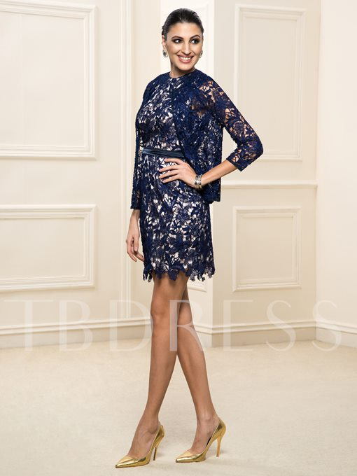 Short Lace Backless Long Sleeve Mother of the Bride Dress