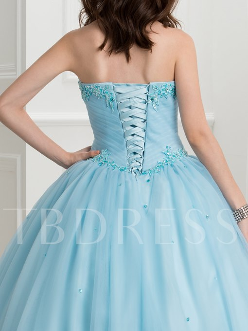 Sweetheart Appliques Sequins Ball Gown Quinceanera Dress