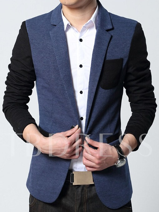 Men's Blazer with Patched Chest Pocket One Button