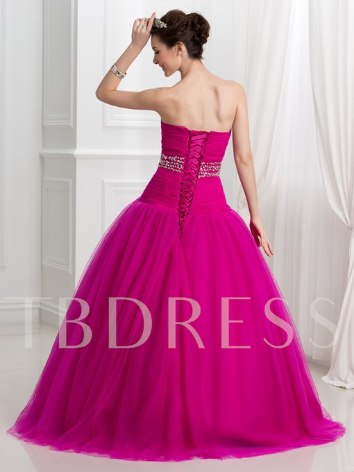 Sweetheart Ball Gown Pleats Sequins Quinceanera Dress