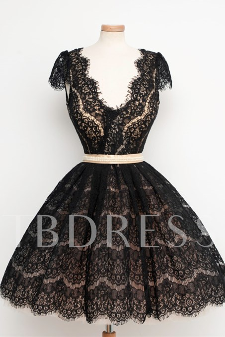 V-Neck Beaded Lace Short Vintage Cocktail Dress