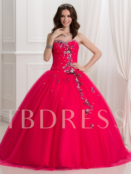 Sweetheart Lace-Up Beaded Ball Gown Quinceanera Dress
