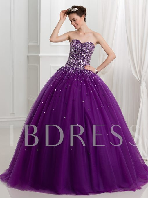 Sweetheart Ball Gown Beading Sequins Lace-Up Quinceanera Dress