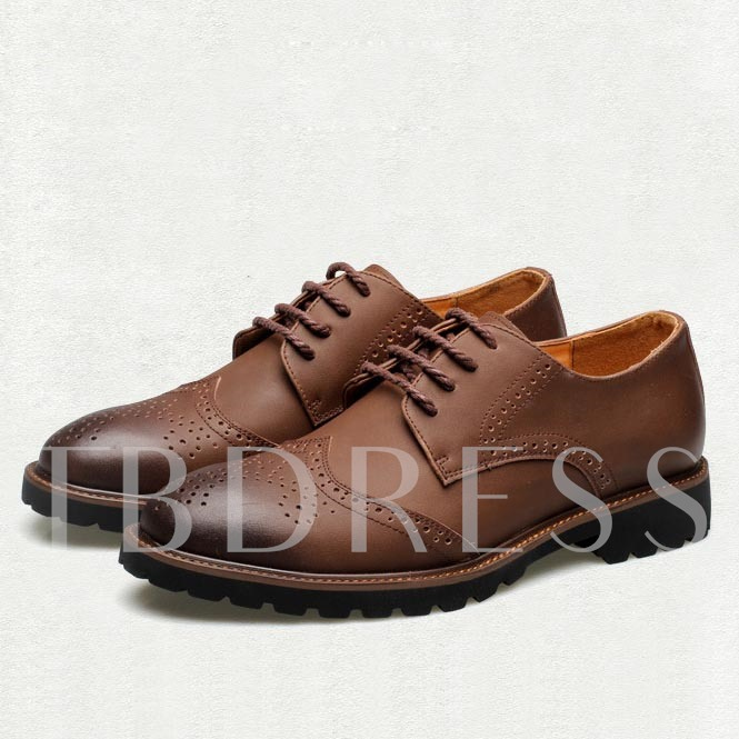 Hollow Square Heel Round Toe Men's Oxfords