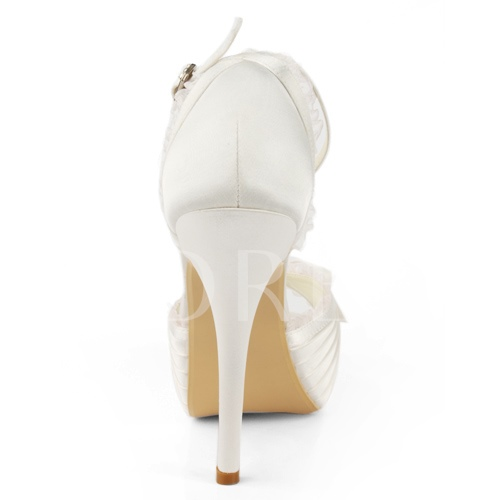 Peep Toe Stiletto Heel Buckle Bowtie Women's Wedding Shoes